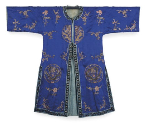 A CHINESE EMBROIDERED SILK BLU