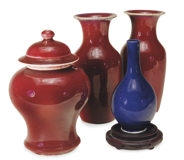 A PAIR OF CHINESE FLAMBE-GLAZE
