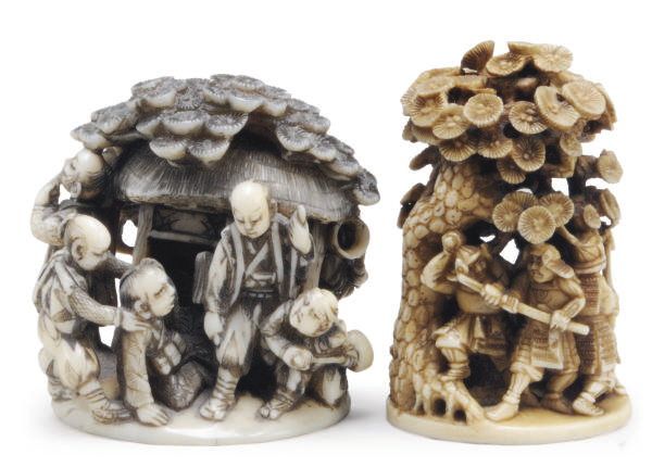 TWO JAPANESE IVORY NETSUKE CAR