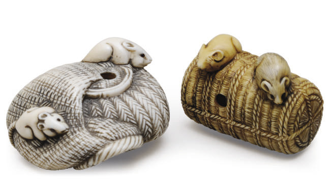 TWO JAPANESE IVORY NETSUKES OF