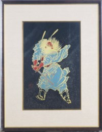 A JAPANESE LACQUER PAINTING OF A DEMON, Shoki,