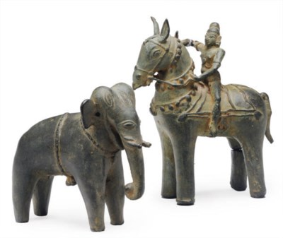 TWO INDIAN FOLK BRONZES OF AN