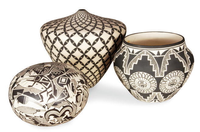 THREE ACOMA POTTERY VASES,