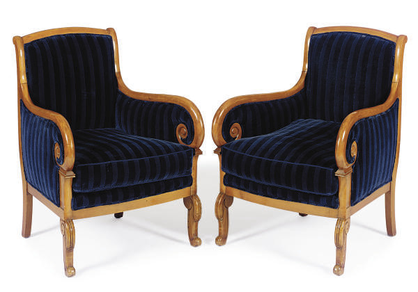 A PAIR OF FRUITWOOD AND STRIPE