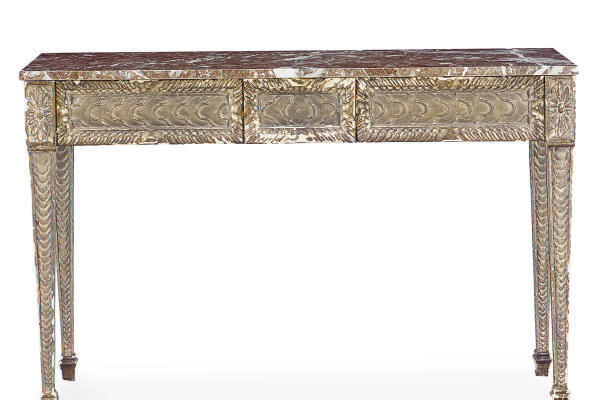 A SILVERED-WOOD MARBLE TOP SID