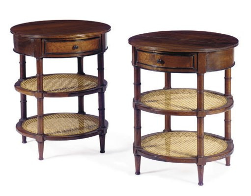 A PAIR OF ROSEWOOD AND CANED S