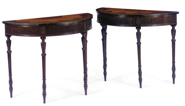 A PAIR OF STAINED-MAHOGANY, SA