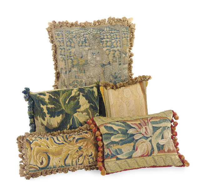A GROUP OF SEVEN TAPESTRY CUSH