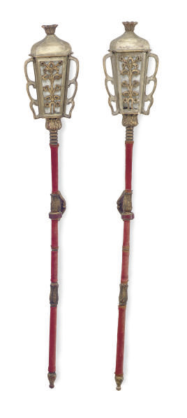 A PAIR OF PAINTED, PARCEL-GILT