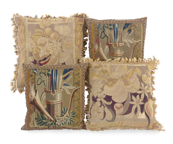 TWO PAIRS OF TAPESTRY CUSHIONS