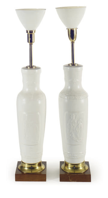 A PAIR OF WHITE CRACKLE-GLAZED