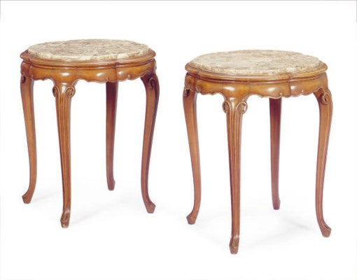 A PAIR OF FRUITWOOD AND MARBLE