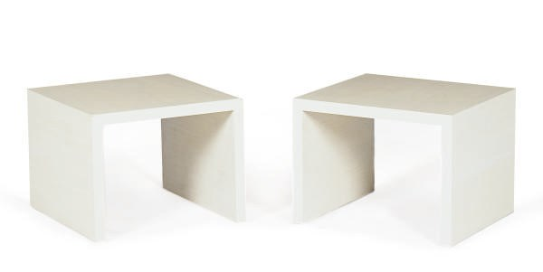 A PAIR OF PAINTED SQUARE-FORM