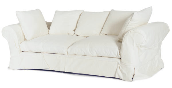 A WHITE CANVAS UPHOLSTERED SOF