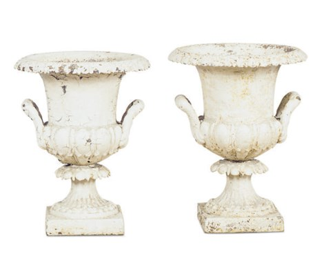 A PAIR OF WHITE-PAINTED IRON G