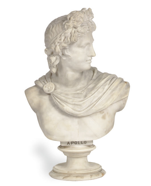 A MARBLE BUST OF APOLLO,