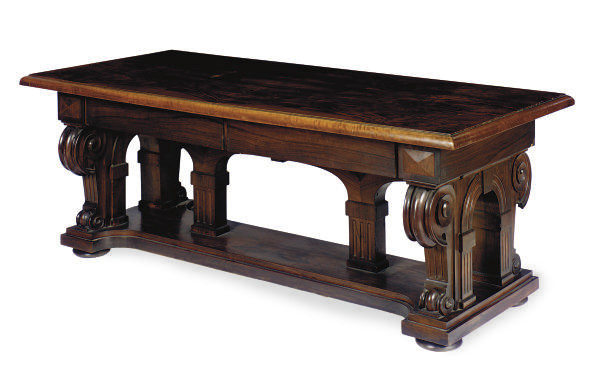 A WALNUT LIBRARY TABLE,
