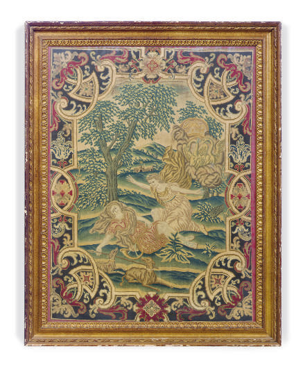A FRENCH NEEDLEWORK PANEL,