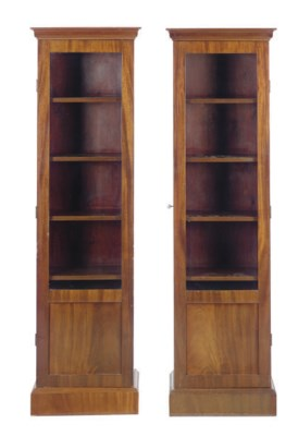 A PAIR OF MAHOGANY BOOKCASES,