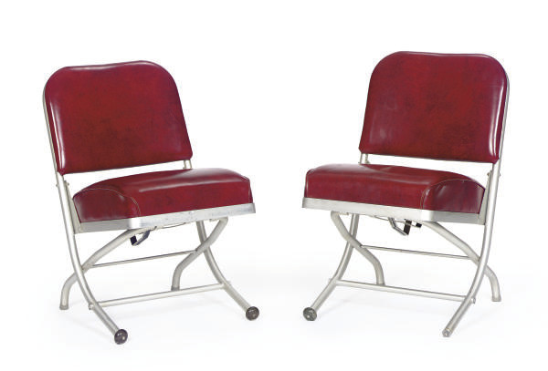 A PAIR OF ALUMINUM AND UPHOLST