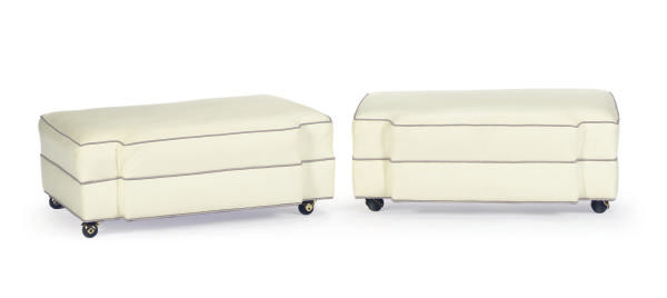 A PAIR OF WHITE-LEATHER UPHOLS