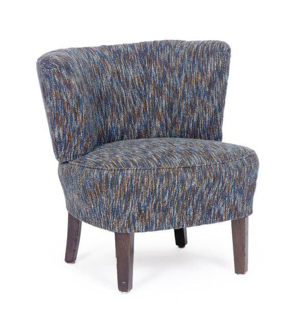 AN EBONIZED AND UPHOLSTERED LO