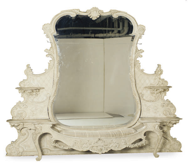 A WHITE PAINTED, FAUX-MARBLE A