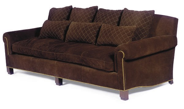 A BROWN SUEDE-UPHOLSTERED SOFA