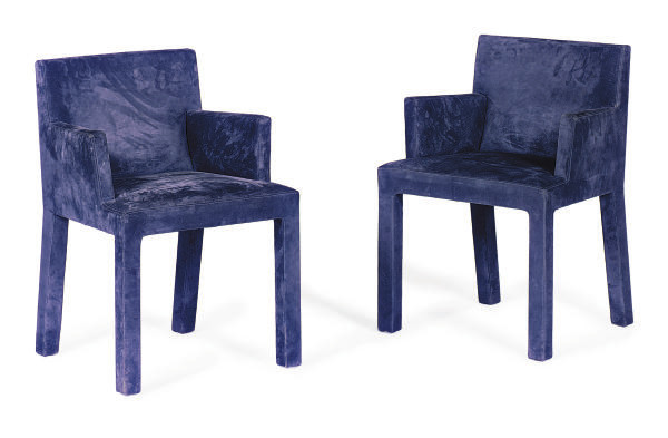 A SET OF EIGHT BLUE SUEDE-UPHO
