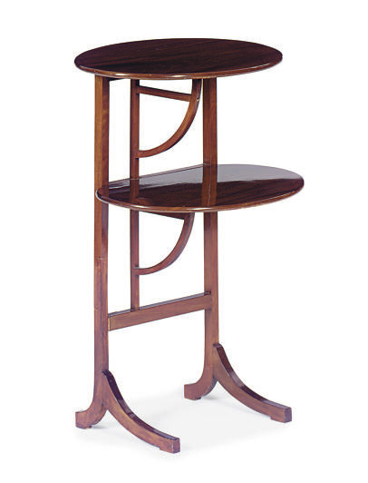 A MAHOGANY TIERED SIDE TABLE,