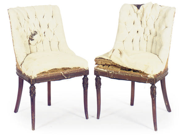 A PAIR OF STAINED-WOOD SIDE CH