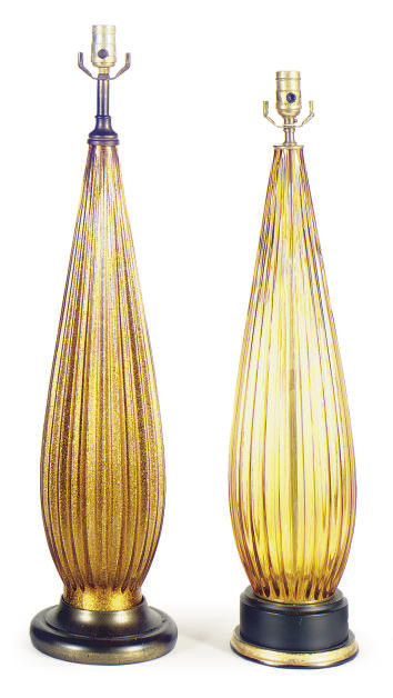 TWO GOLD GLASS TABLE LAMPS,