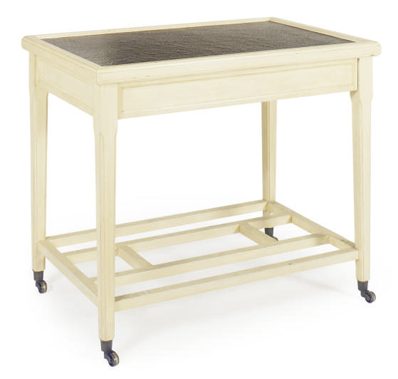 A CREAM-PAINTED SIDE TABLE,