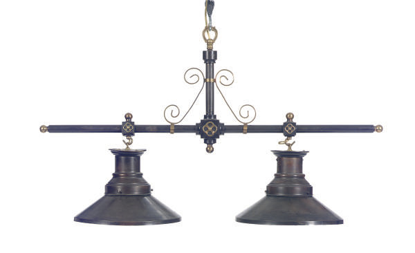 A PATINATED METAL TWO-LIGHT HA