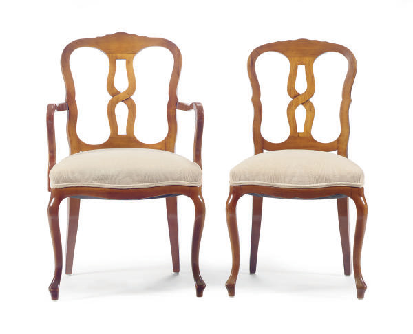 A SET OF TEN FRUITWOOD DINING
