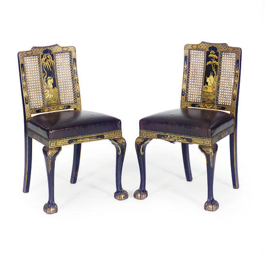 A PAIR OF GILT-JAPANNED AND CA