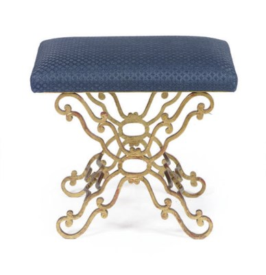 A GILT-METAL AND UPHOLSTERED B