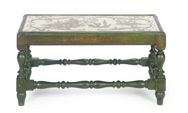 A GREEN PAINTED AND CHINOISERI