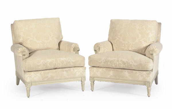 A PAIR OF WHITE-PAINTED AND UP