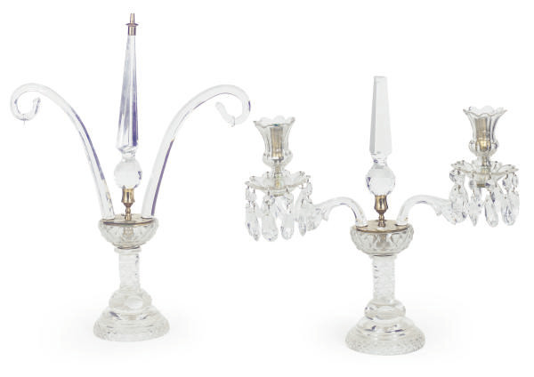 A PAIR OF CUT-GLASS TWO-LIGHT