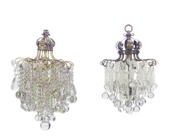 TWO GILT-METAL AND CUT-GLASS C