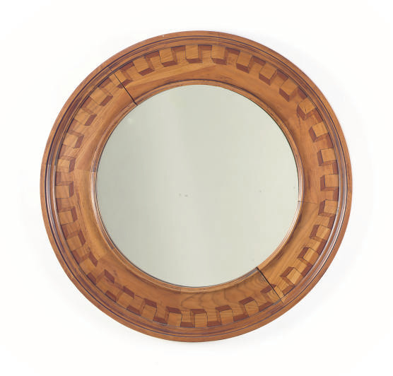 A STAINED FRUITWOOD ROUND WALL