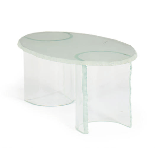 A GLASS LOW TABLE,