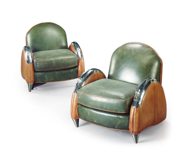 A PAIR OF ART DECO STYLE LEATH