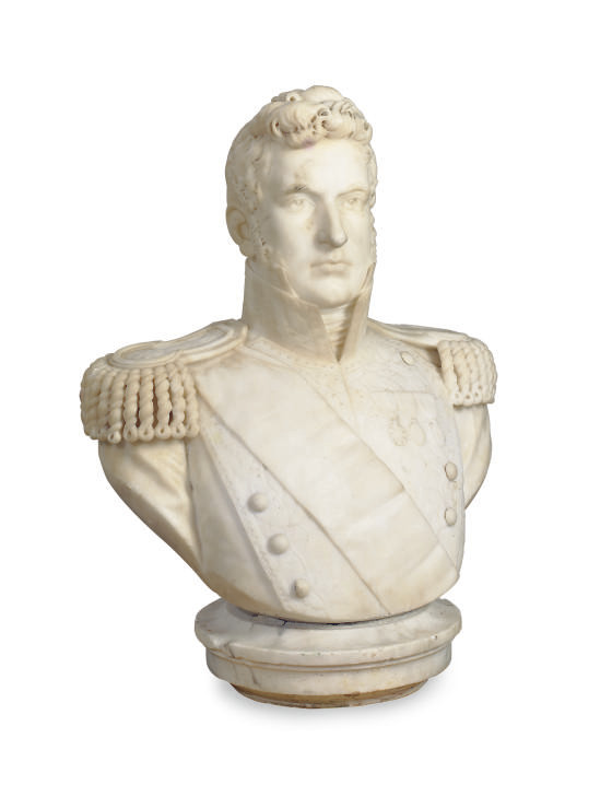 A WHITE MARBLE BUST OF A GENTE