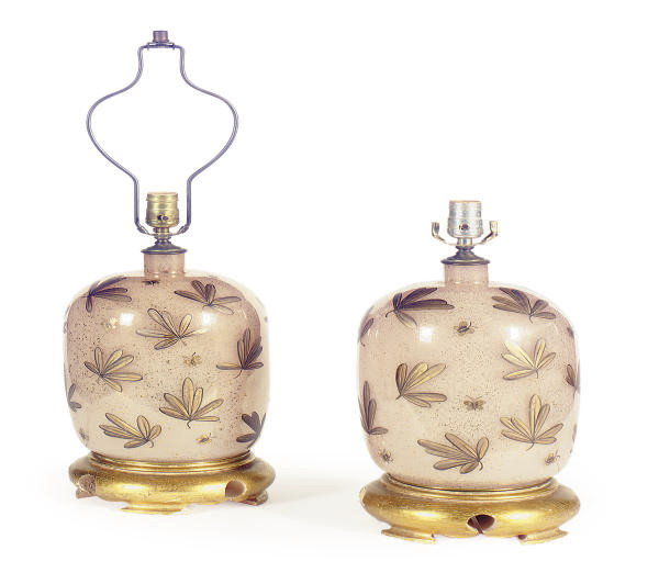 A PAIR OF GILT-DECORATED PINK