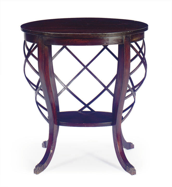 A STAINED MAHOGANY SIDE TABLE,