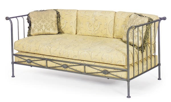 A STEEL AND GILT-METAL DAYBED,