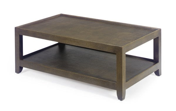 A FABRIC-LINED COFFEE TABLE,