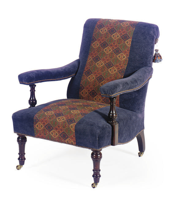 A STAINED MAHOGANY AND UPHOLST